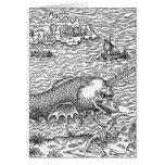 Serpiente de mar/monstruo de cuernos felicitación