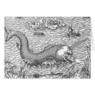 Serpiente de mar/monstruo de cuernos tarjeta de felicitación