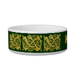 Serpiente de oro céltica en el cuenco verde oscuro tazon para gato