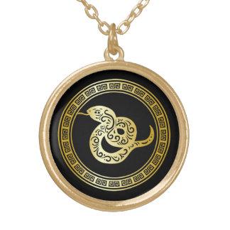 Serpiente de oro del zodiaco en negro con el marco pendientes personalizados