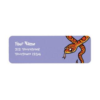 Serpiente del dibujo animado etiquetas de remite