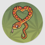 Serpiente del dibujo animado etiquetas redondas