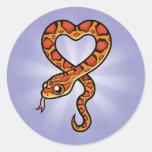 Serpiente del dibujo animado pegatina redonda