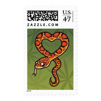 Serpiente del dibujo animado timbres postales
