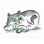Serpiente del jardín y el gatito curioso tarjetas postales