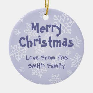 Serpiente del navidad (añada su propio mensaje) adorno navideño redondo de cerámica