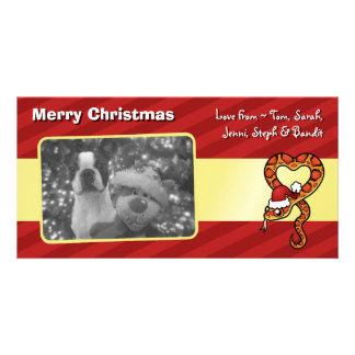 Serpiente del navidad tarjetas fotográficas personalizadas