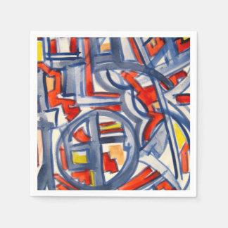 Serpiente en el gallinero - arte abstracto pintado servilleta desechable