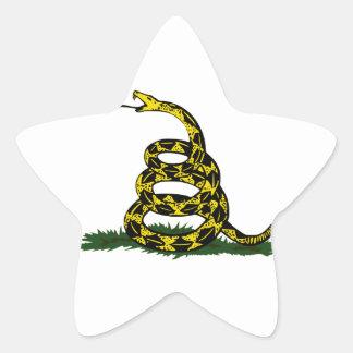 Serpiente en espiral de la bandera de Gadsden Pegatina En Forma De Estrella