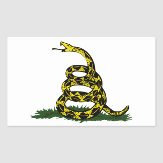 Serpiente en espiral de la bandera de Gadsden Pegatina Rectangular