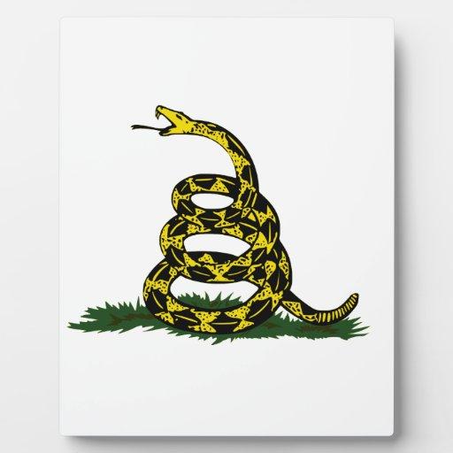 Serpiente en espiral de la bandera de Gadsden Placa De Plastico