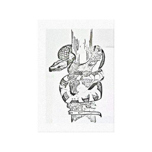 Serpiente envuelta alrededor de la impresión de la lona envuelta para galerías