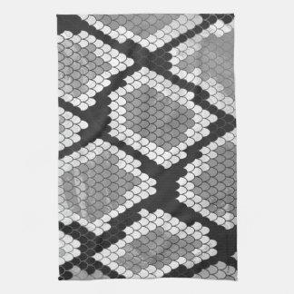 Serpiente impresión gris, del blanco y del negro toallas