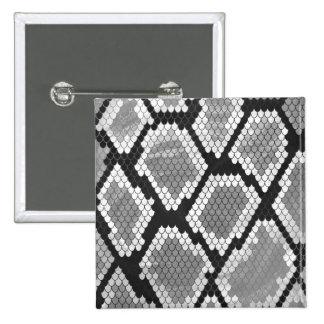 Serpiente impresión gris, del blanco y del negro pin cuadrada 5 cm