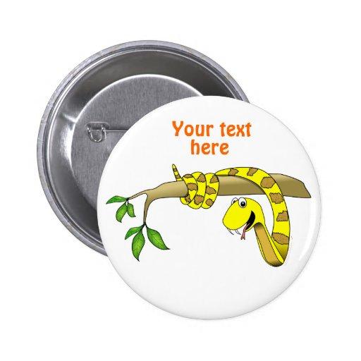 Serpiente linda del amarillo del dibujo animado en pins