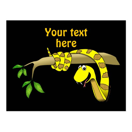 Serpiente linda del amarillo del dibujo animado en tarjeta postal