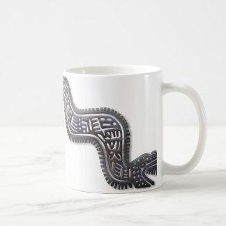 Serpiente maya - negro y plata taza