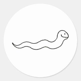Serpiente o gusano - logotipo del símbolo del arte pegatina redonda