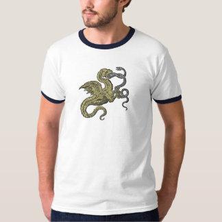Serpiente que lucha del dragón de oro playera