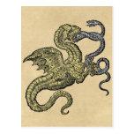 Serpiente que lucha del dragón de oro tarjetas postales
