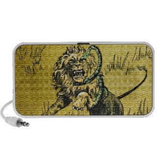 Serpiente que lucha del león altavoces de viaje