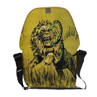 Serpiente que lucha del león bolsa de mensajería