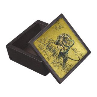 Serpiente que lucha del león caja de joyas de calidad