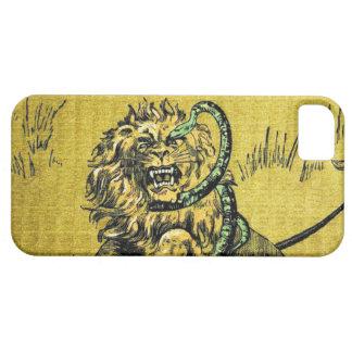 Serpiente que lucha del león iPhone 5 Case-Mate coberturas