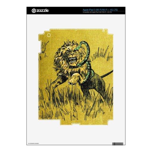 Serpiente que lucha del león iPad 3 pegatina skin