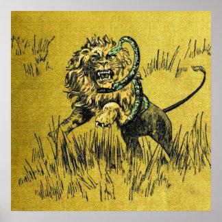 Serpiente que lucha del león póster