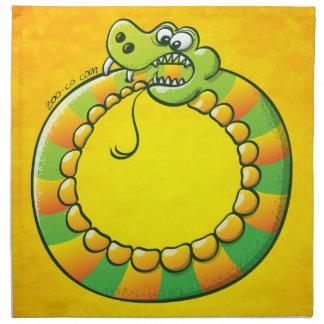 Serpiente que muerde su propia cola servilletas imprimidas