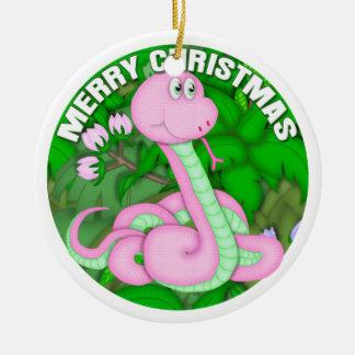 Serpiente rosada de las Felices Navidad Adorno Redondo De Cerámica