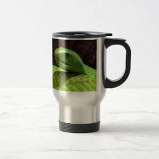 serpiente severa de la mamba verde taza de café
