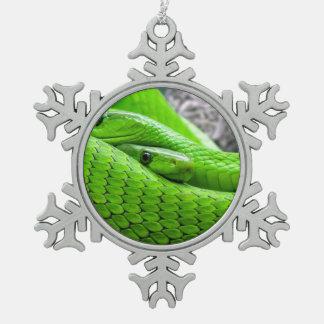 Serpiente verde adorno de peltre en forma de copo de nieve