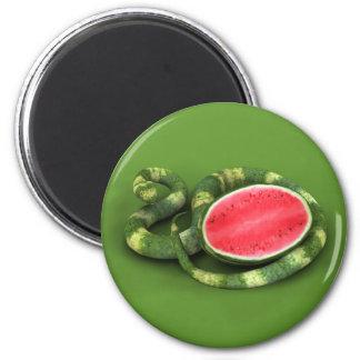 Serpiente verde de la sandía imán redondo 5 cm