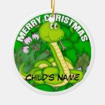 Serpiente verde de las Felices Navidad Adorno Para Reyes