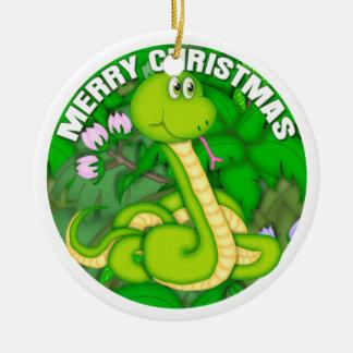 Serpiente verde de las Felices Navidad Adorno