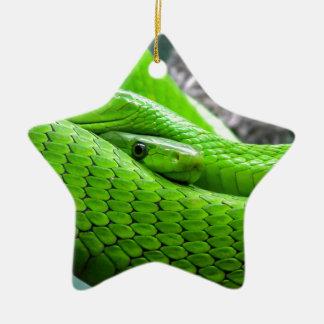 Serpiente verde adorno de cerámica en forma de estrella