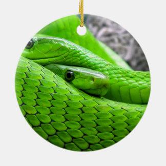 Serpiente verde adorno redondo de cerámica