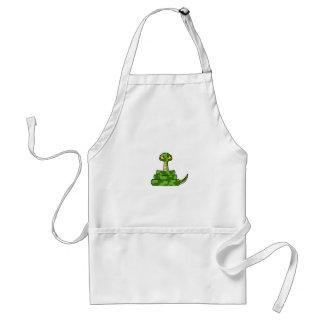 Serpiente verde del dibujo animado en bobina delantal