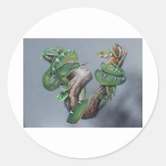 Serpiente verde y rana pegatina redonda