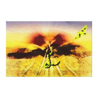 Serpiente y pájaro en el desierto impresión en lona estirada