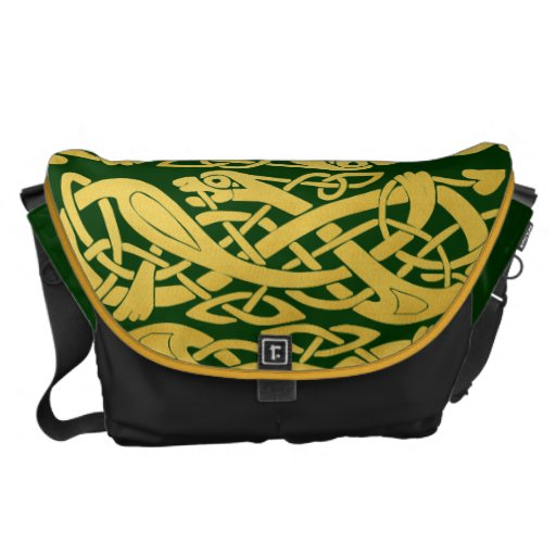 Serpientes célticas del oro en mensajero grande bolsas de mensajeria