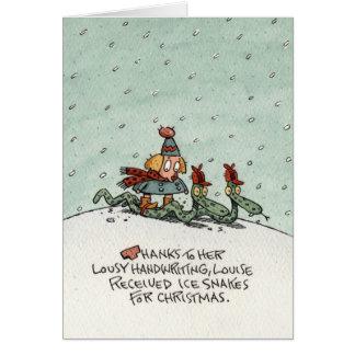 Serpientes del hielo del navidad tarjeta de felicitación