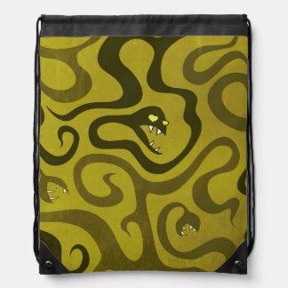 Serpientes divertidas del mal del dibujo animado mochilas