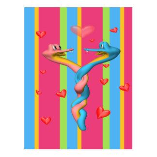 Serpientes en amor tarjeta postal