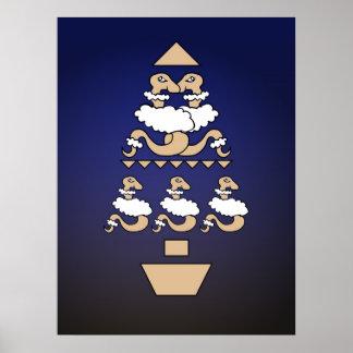 Serpientes en árbol de la ropa de las ovejas póster