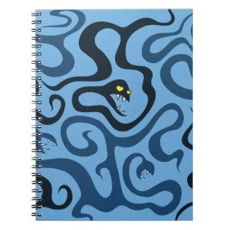 Serpientes malvadas divertidas del dibujo animado  spiral notebooks