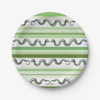 Serpientes texturizadas y rayas verdes y blancas platos de papel