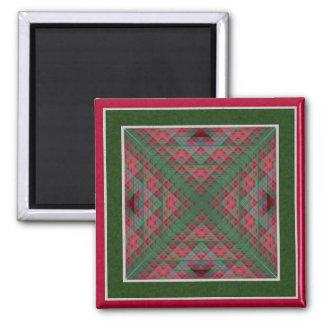 Serpinski s Squares Quilted Christmas Fractal Fridge Magnet
